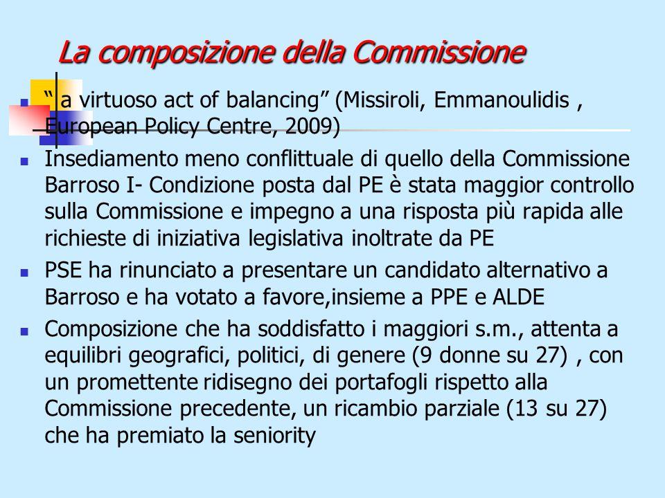 La composizione della Commissione a virtuoso act of balancing (Missiroli, Emmanoulidis, European Policy Centre, 2009) Insediamento meno conflittuale di quello della Commissione Barroso I- Condizione posta dal PE è stata maggior controllo sulla Commissione e impegno a una risposta più rapida alle richieste di iniziativa legislativa inoltrate da PE PSE ha rinunciato a presentare un candidato alternativo a Barroso e ha votato a favore,insieme a PPE e ALDE Composizione che ha soddisfatto i maggiori s.m., attenta a equilibri geografici, politici, di genere (9 donne su 27), con un promettente ridisegno dei portafogli rispetto alla Commissione precedente, un ricambio parziale (13 su 27) che ha premiato la seniority