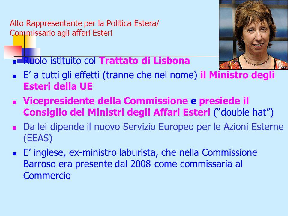 Alto Rappresentante per la Politica Estera/ Commissario agli affari Esteri Ruolo istituito col Trattato di Lisbona E' a tutti gli effetti (tranne che nel nome) il Ministro degli Esteri della UE Vicepresidente della Commissione e presiede il Consiglio dei Ministri degli Affari Esteri ( double hat ) Da lei dipende il nuovo Servizio Europeo per le Azioni Esterne (EEAS) E' inglese, ex-ministro laburista, che nella Commissione Barroso era presente dal 2008 come commissaria al Commercio