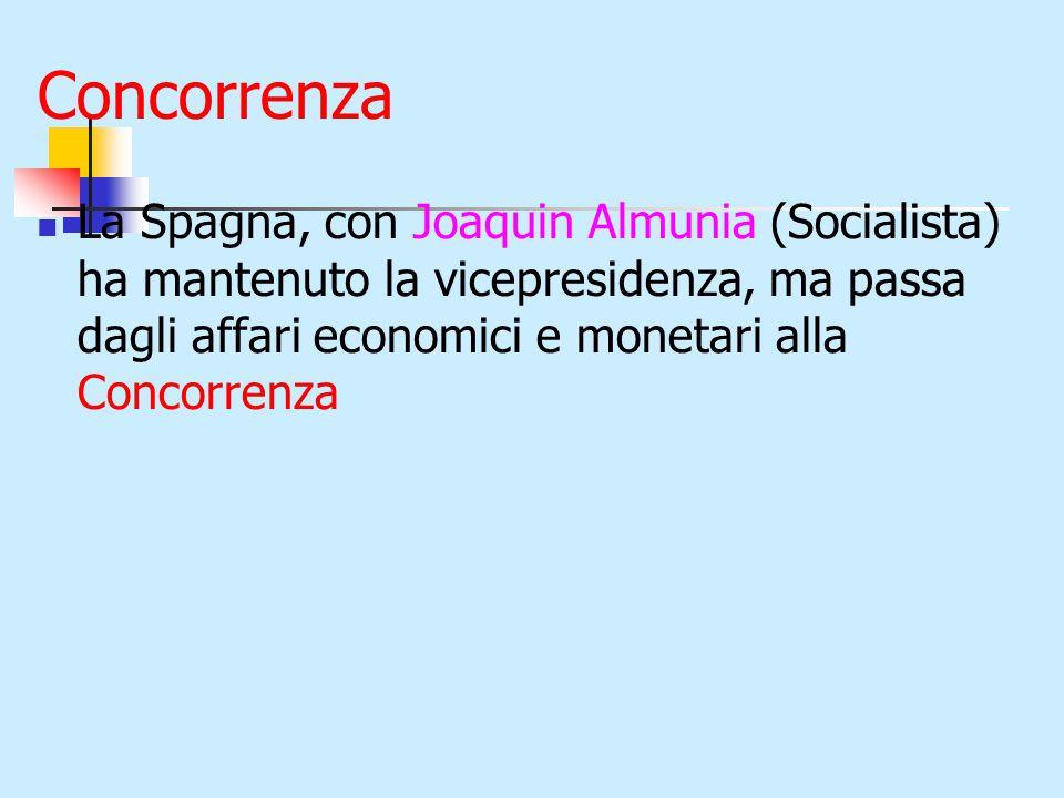 Concorrenza La Spagna, con Joaquin Almunia (Socialista) ha mantenuto la vicepresidenza, ma passa dagli affari economici e monetari alla Concorrenza