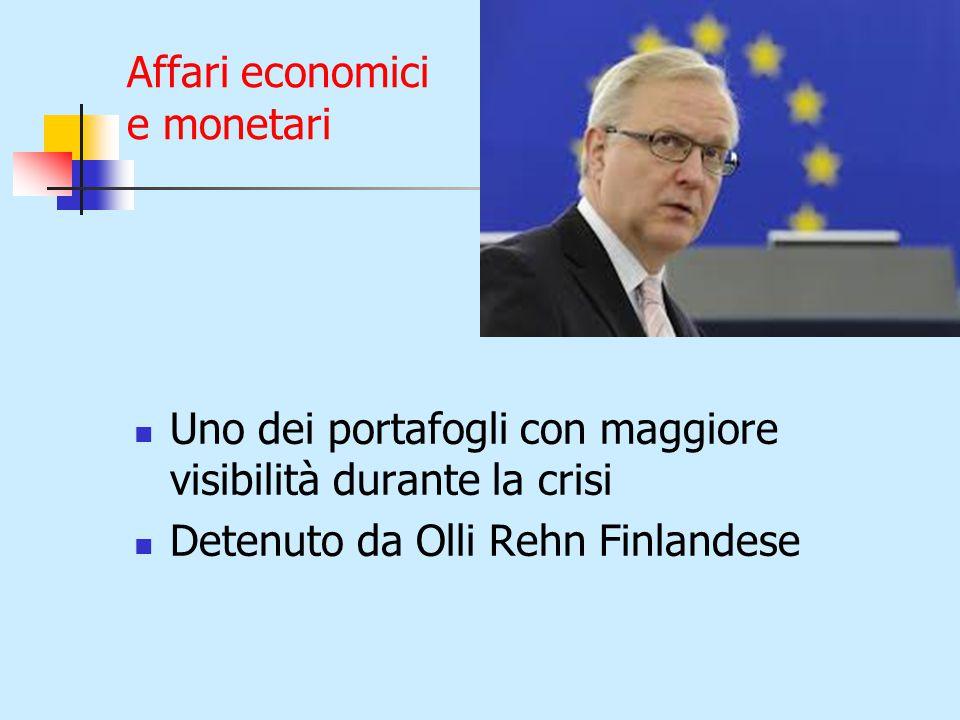 Affari economici e monetari Uno dei portafogli con maggiore visibilità durante la crisi Detenuto da Olli Rehn Finlandese
