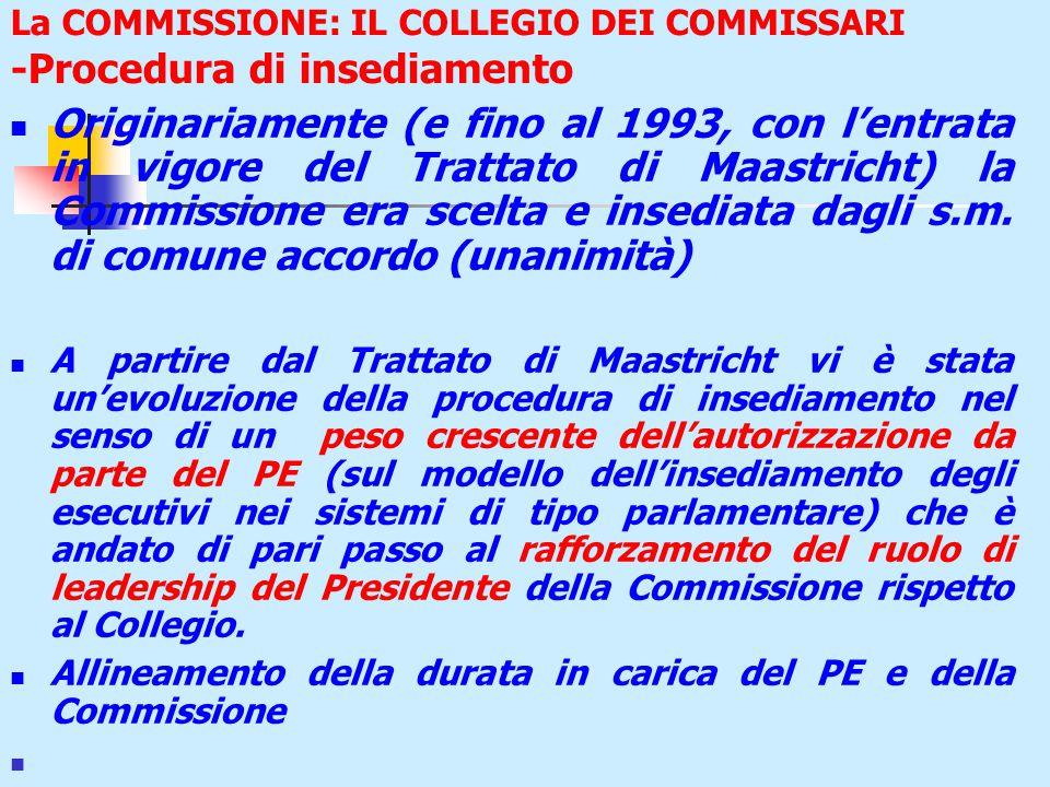 La COMMISSIONE: IL COLLEGIO DEI COMMISSARI -Procedura di insediamento Originariamente (e fino al 1993, con l'entrata in vigore del Trattato di Maastricht) la Commissione era scelta e insediata dagli s.m.