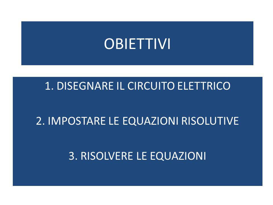 OBIETTIVI 1. DISEGNARE IL CIRCUITO ELETTRICO 2. IMPOSTARE LE EQUAZIONI RISOLUTIVE 3. RISOLVERE LE EQUAZIONI