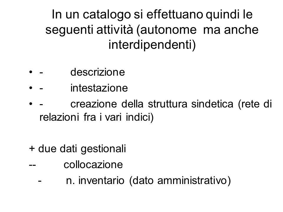 In un catalogo si effettuano quindi le seguenti attività (autonome ma anche interdipendenti) - descrizione - intestazione - creazione della struttura sindetica (rete di relazioni fra i vari indici) + due dati gestionali -- collocazione - n.