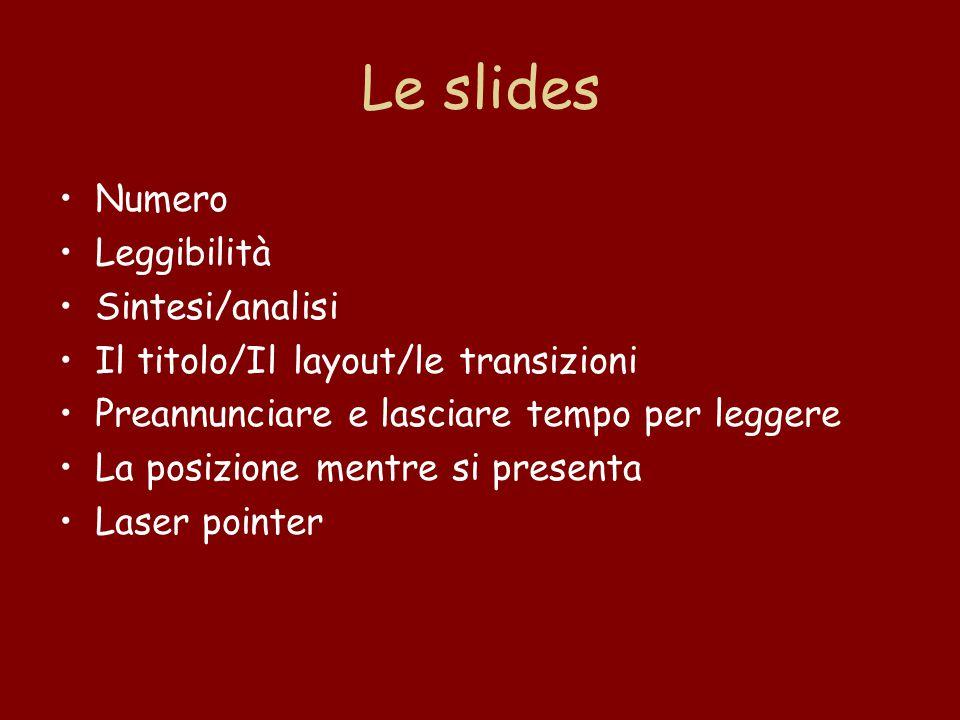 Le slides Numero Leggibilità Sintesi/analisi Il titolo/Il layout/le transizioni Preannunciare e lasciare tempo per leggere La posizione mentre si presenta Laser pointer