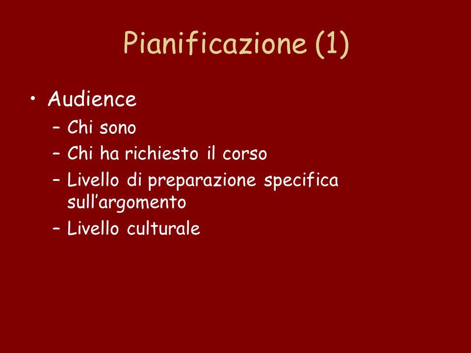 Pianificazione (1) Audience –Chi sono –Chi ha richiesto il corso –Livello di preparazione specifica sull'argomento –Livello culturale