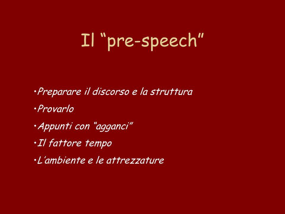 Il pre-speech Preparare il discorso e la struttura Provarlo Appunti con agganci Il fattore tempo L'ambiente e le attrezzature
