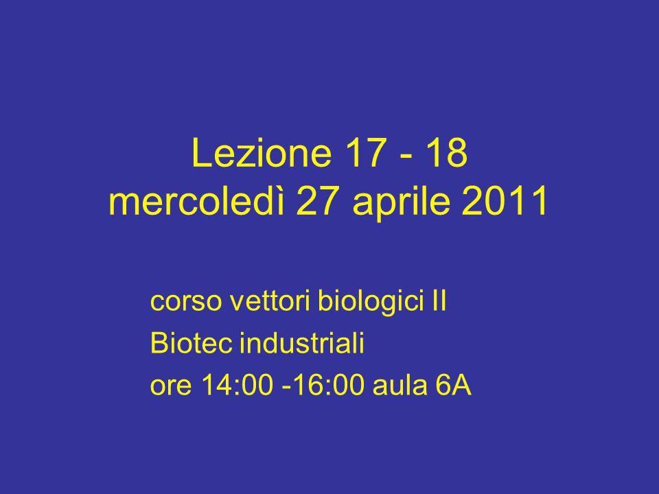 Lezione 17 - 18 mercoledì 27 aprile 2011 corso vettori biologici II Biotec industriali ore 14:00 -16:00 aula 6A
