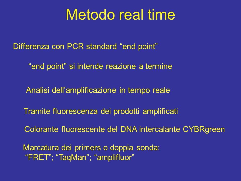 "Metodo real time Differenza con PCR standard ""end point"" ""end point"" si intende reazione a termine Analisi dell'amplificazione in tempo reale Tramite"