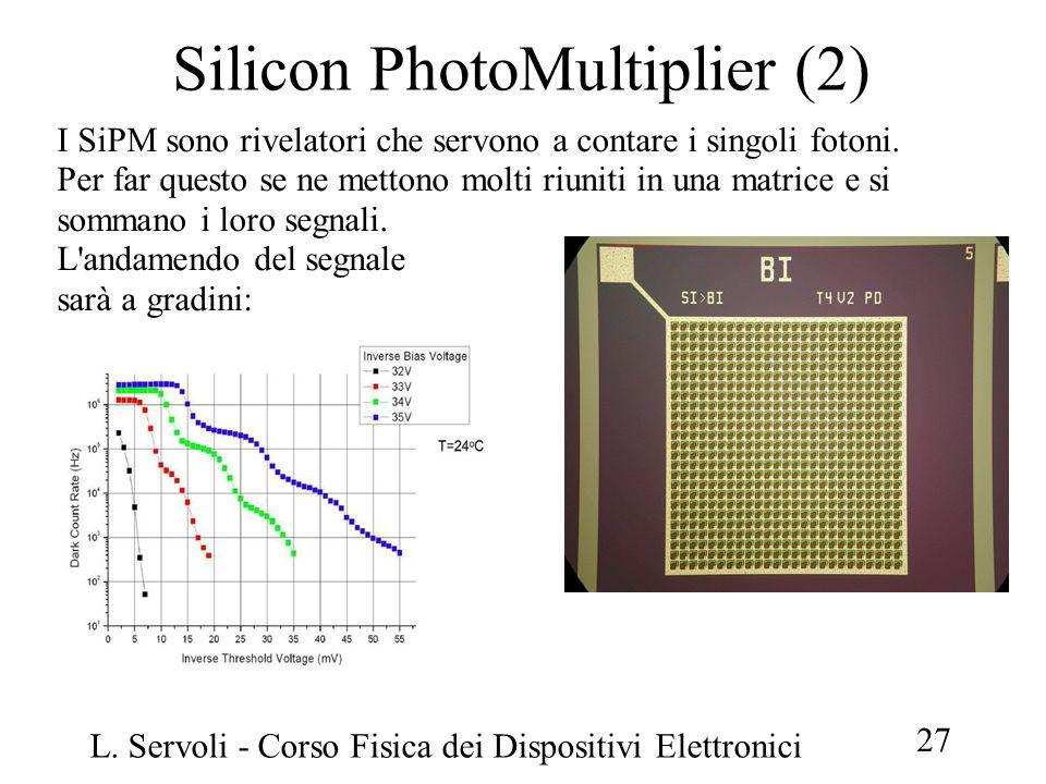 L. Servoli - Corso Fisica dei Dispositivi Elettronici 27 Silicon PhotoMultiplier (2) I SiPM sono rivelatori che servono a contare i singoli fotoni. Pe