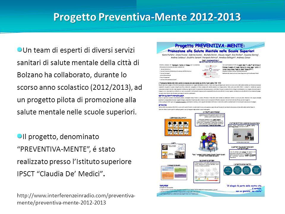 Progetto Preventiva-Mente 2012-2013 Un team di esperti di diversi servizi sanitari di salute mentale della città di Bolzano ha collaborato, durante lo scorso anno scolastico (2012/2013), ad un progetto pilota di promozione alla salute mentale nelle scuole superiori.