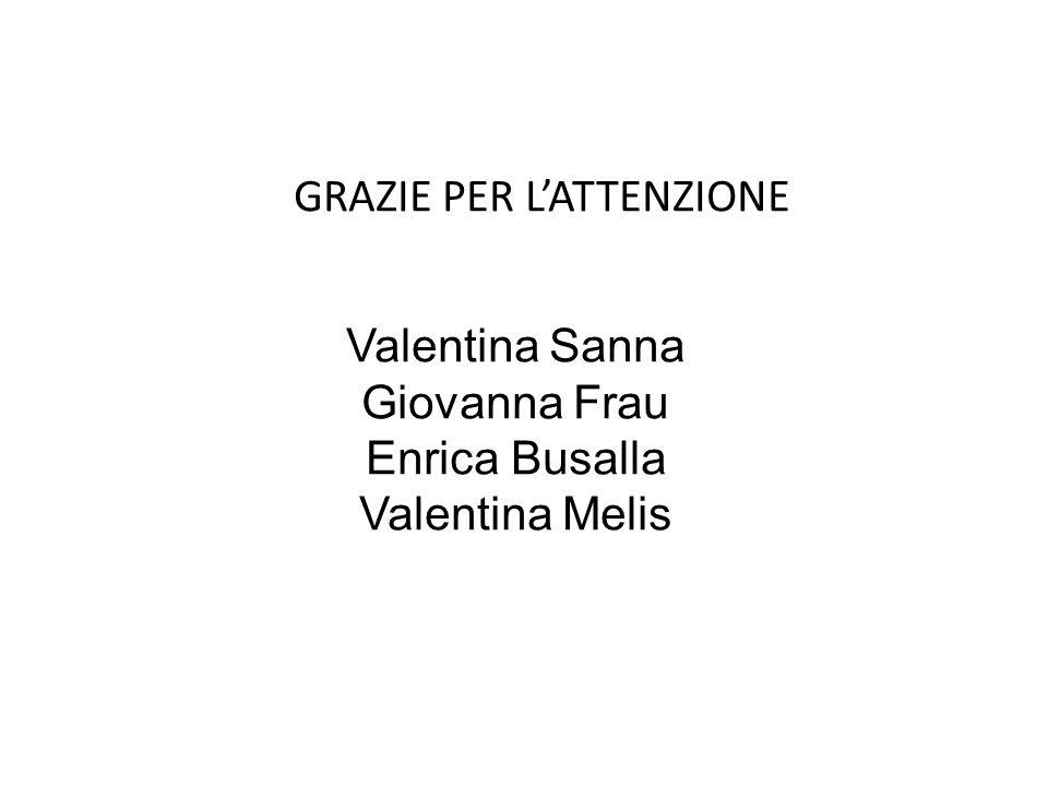 GRAZIE PER L'ATTENZIONE Valentina Sanna Giovanna Frau Enrica Busalla Valentina Melis