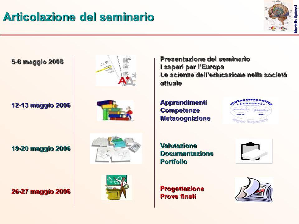 5-6 maggio 2006 Articolazione del seminario Presentazione del seminario I saperi per l'Europa Le scienze dell'educazione nella società attuale Mariell