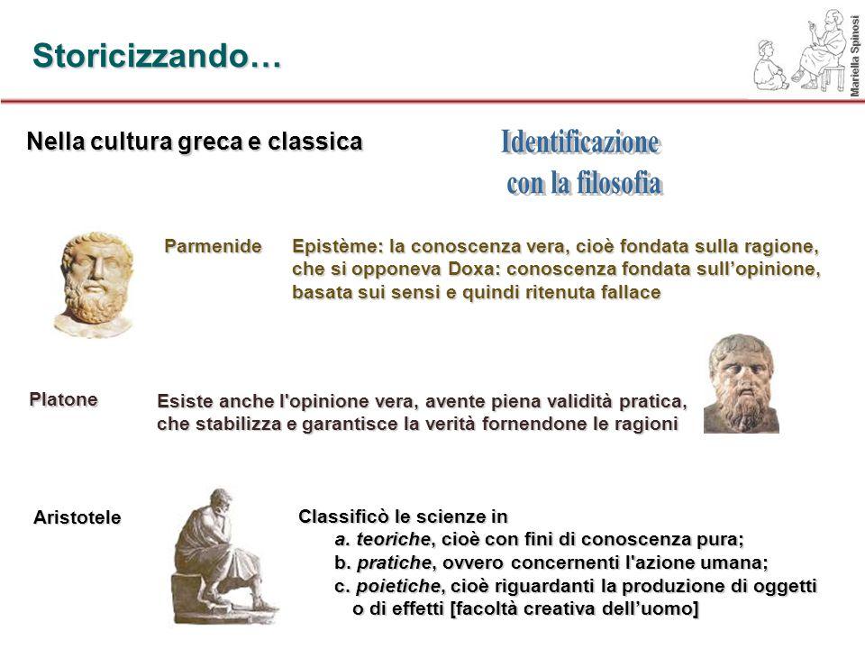 Storicizzando… Nella cultura greca e classica Parmenide Platone Aristotele Epistème: la conoscenza vera, cioè fondata sulla ragione, che si opponeva D
