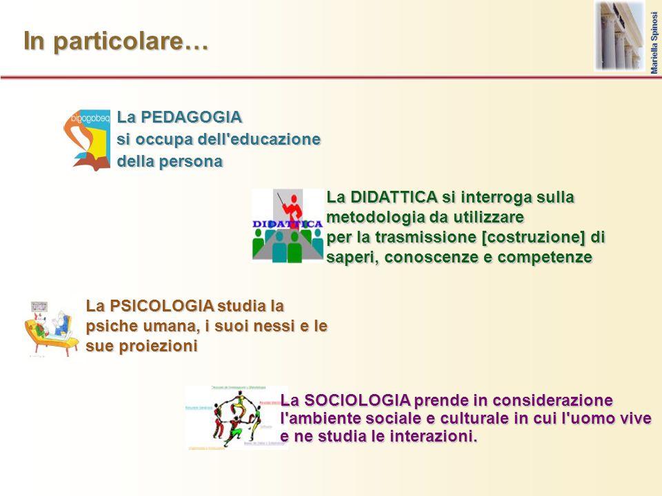 In particolare… La PEDAGOGIA si occupa dell'educazione della persona La SOCIOLOGIA prende in considerazione l'ambiente sociale e culturale in cui l'uo