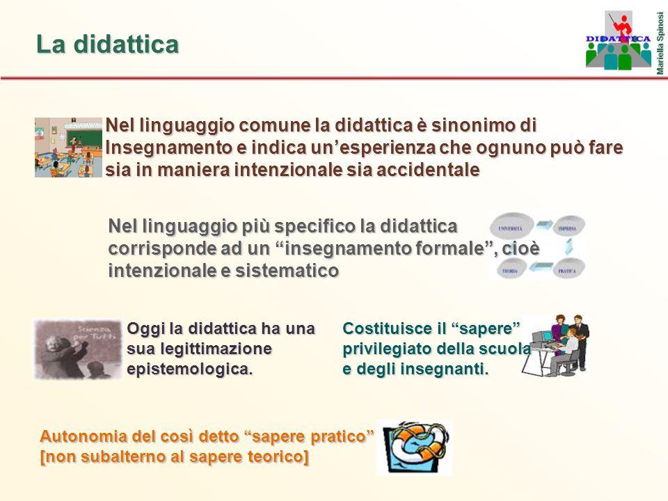 La didattica Nel linguaggio comune la didattica è sinonimo di Insegnamento e indica un'esperienza che ognuno può fare sia in maniera intenzionale sia