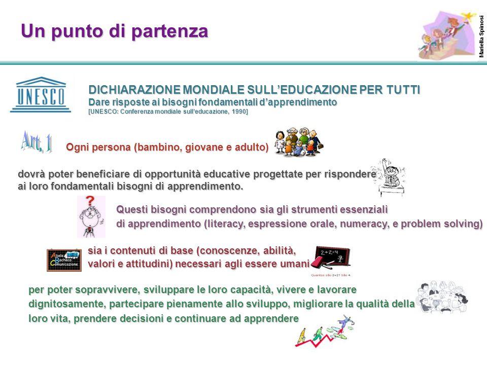 Ogni persona (bambino, giovane e adulto) DICHIARAZIONE MONDIALE SULL'EDUCAZIONE PER TUTTI Dare risposte ai bisogni fondamentali d'apprendimento [UNESC