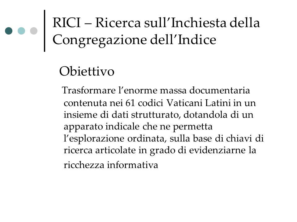 RICI – Ricerca sull'Inchiesta della Congregazione dell'Indice Obiettivo Trasformare l'enorme massa documentaria contenuta nei 61 codici Vaticani Latin