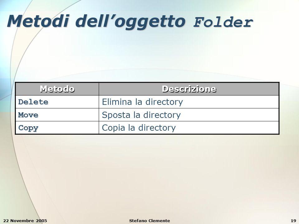 22 Novembre 2005Stefano Clemente19 Metodi dell'oggetto Folder MetodoDescrizione Delete Elimina la directory Move Sposta la directory Copy Copia la directory