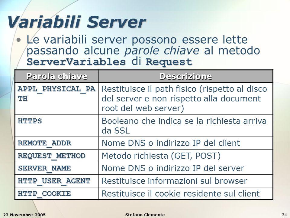 22 Novembre 2005Stefano Clemente31 Variabili Server ServerVariablesRequestLe variabili server possono essere lette passando alcune parole chiave al me