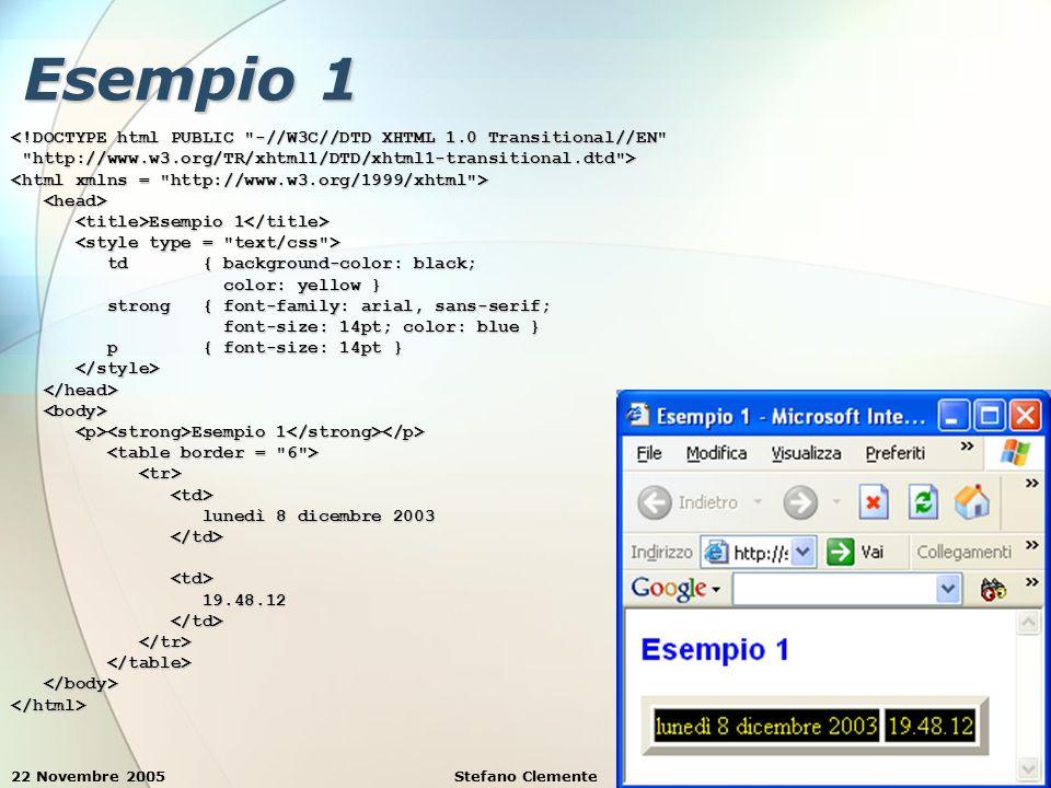 22 Novembre 2005Stefano Clemente8 Esempio 1 <!DOCTYPE html PUBLIC -//W3C//DTD XHTML 1.0 Transitional//EN http://www.w3.org/TR/xhtml1/DTD/xhtml1-transitional.dtd > http://www.w3.org/TR/xhtml1/DTD/xhtml1-transitional.dtd > Esempio 1 Esempio 1 td { background-color: black; td { background-color: black; color: yellow } color: yellow } strong { font-family: arial, sans-serif; strong { font-family: arial, sans-serif; font-size: 14pt; color: blue } font-size: 14pt; color: blue } p { font-size: 14pt } p { font-size: 14pt } Esempio 1 Esempio 1 lunedì 8 dicembre 2003 lunedì 8 dicembre 2003 19.48.12 19.48.12 </html>