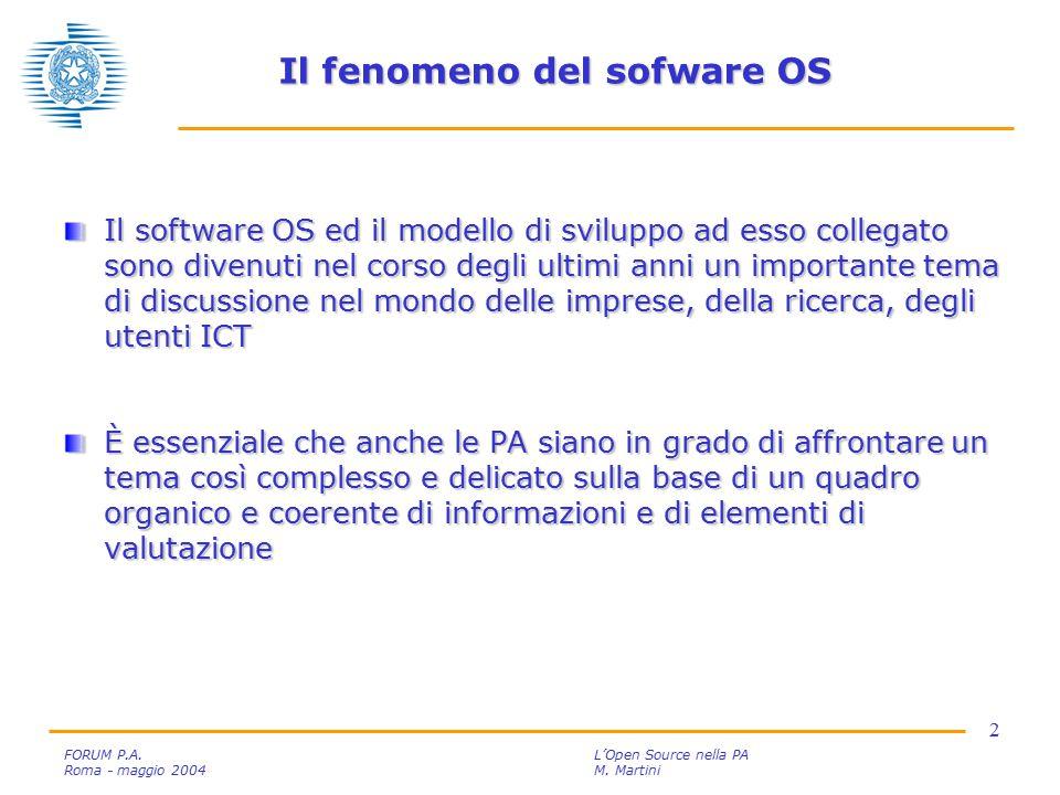 3 FORUM P.A.L'Open Source nella PA Roma - maggio 2004M.