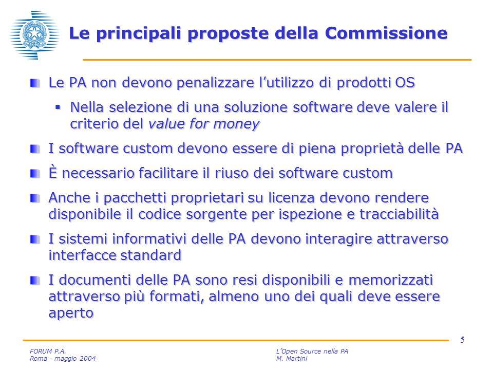 6 FORUM P.A.L'Open Source nella PA Roma - maggio 2004M.