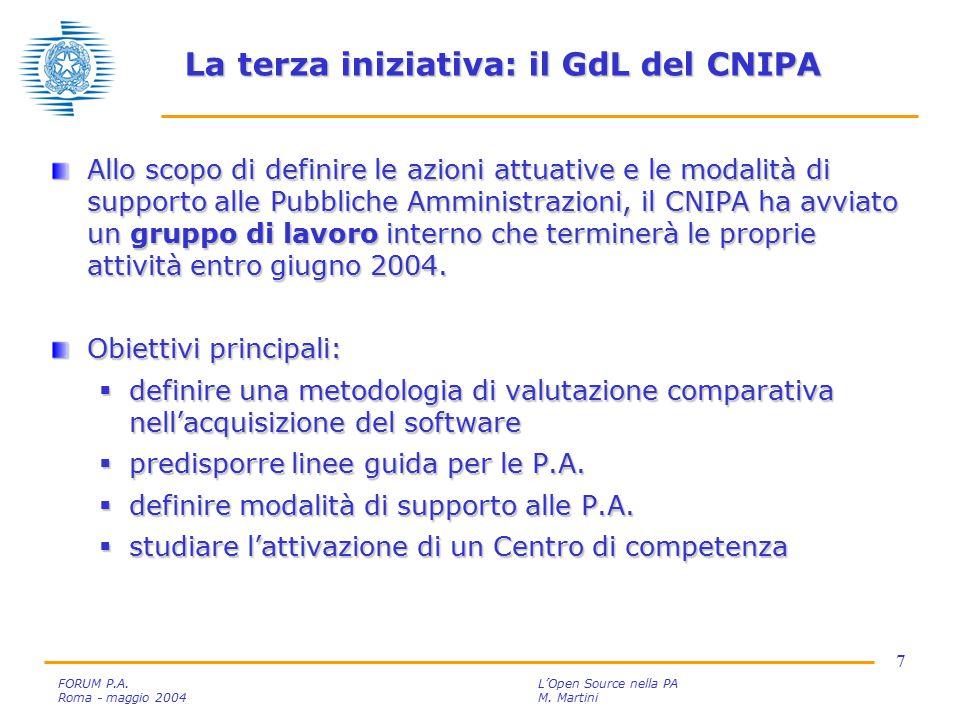 7 FORUM P.A. L'Open Source nella PA Roma - maggio 2004M.