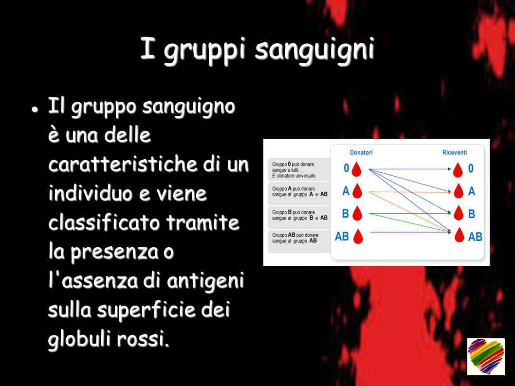 I gruppi sanguigni Il gruppo sanguigno è una delle caratteristiche di un individuo e viene classificato tramite la presenza o l assenza di antigeni sulla superficie dei globuli rossi.