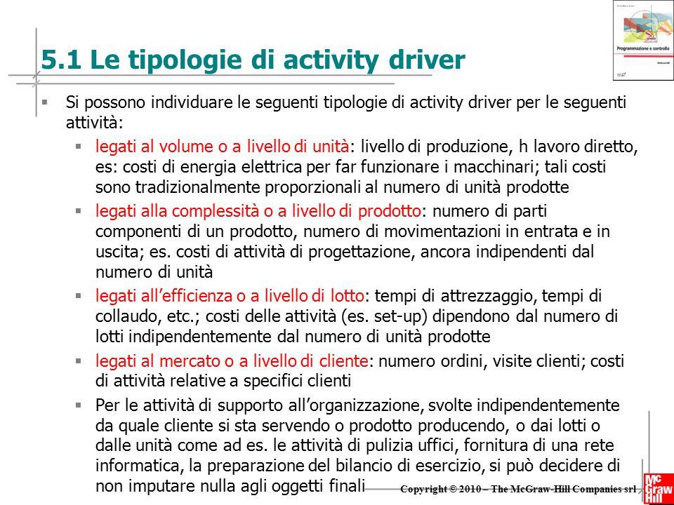 12 Copyright © 2010 – The McGraw-Hill Companies srl 5.1 Le tipologie di activity driver  Si possono individuare le seguenti tipologie di activity dri