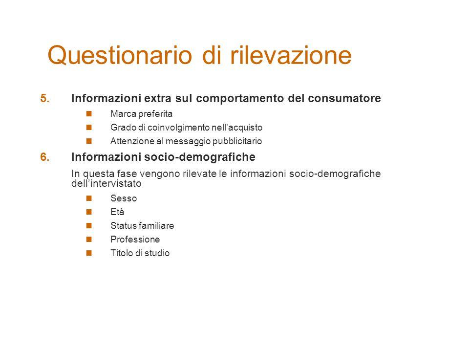 Questionario di rilevazione 5.Informazioni extra sul comportamento del consumatore Marca preferita Grado di coinvolgimento nell'acquisto Attenzione al