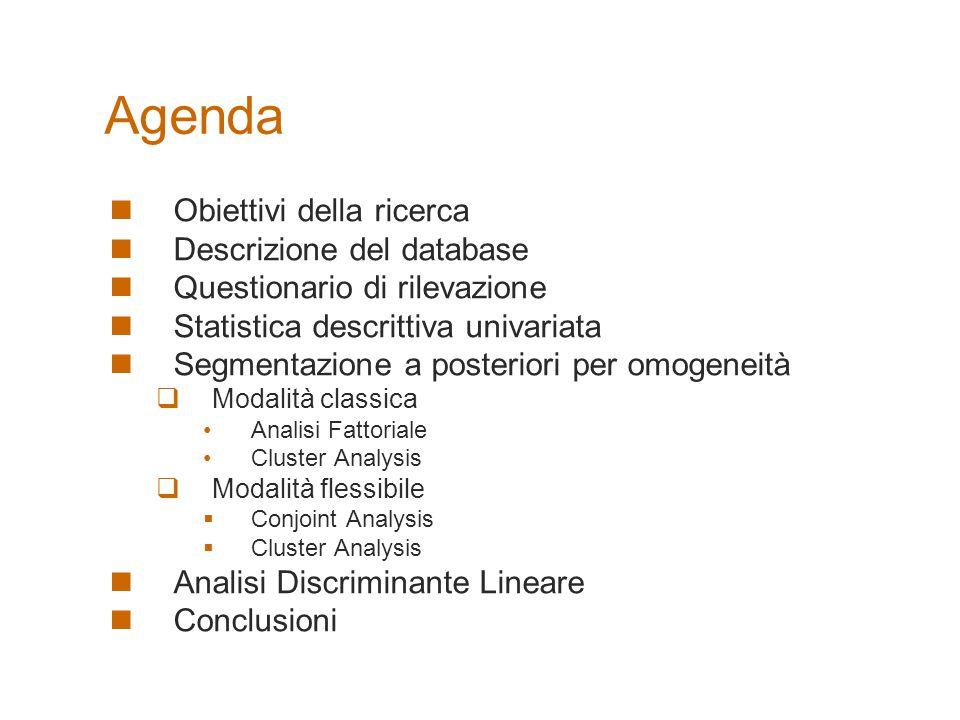 Il CD allegato contiene tutte le elaborazioni effettuate per la realizzazione della ricerca Agenda Obiettivi della ricerca Descrizione del database Qu