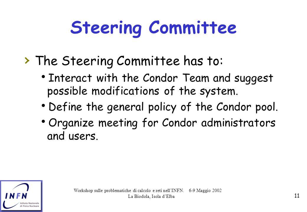 Workshop sulle problematiche di calcolo e reti nell'INFN. 6-9 Maggio 2002 La Biodola, Isola d'Elba 11 Steering Committee › The Steering Committee has