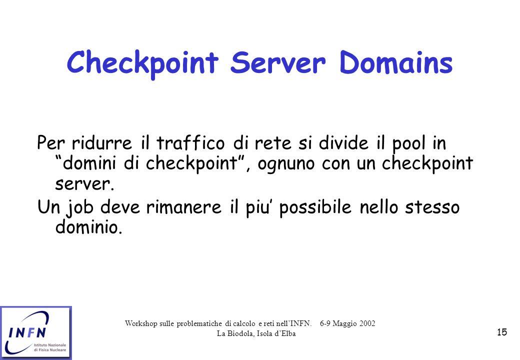 Workshop sulle problematiche di calcolo e reti nell'INFN. 6-9 Maggio 2002 La Biodola, Isola d'Elba 15 Checkpoint Server Domains Per ridurre il traffic