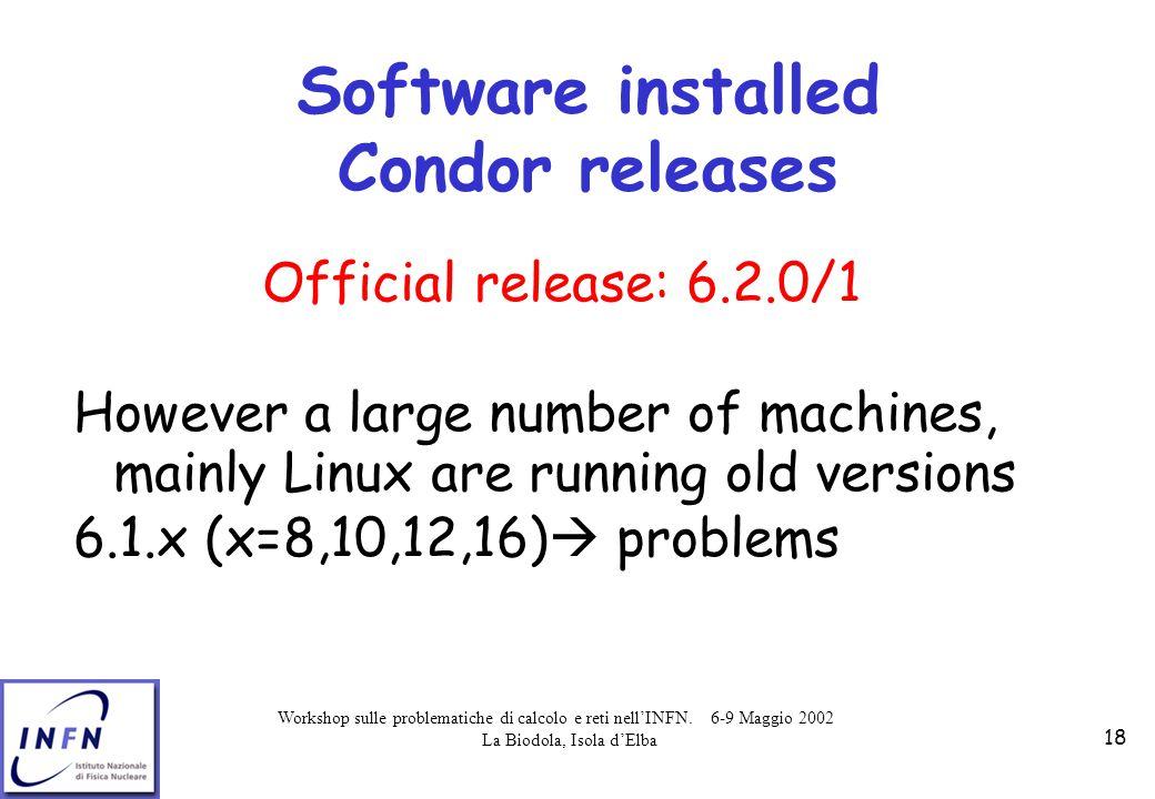 Workshop sulle problematiche di calcolo e reti nell'INFN. 6-9 Maggio 2002 La Biodola, Isola d'Elba 18 Software installed Condor releases Official rele