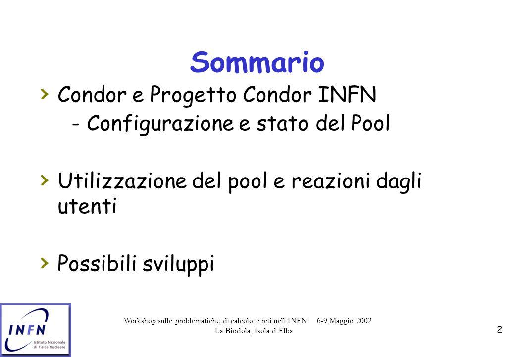 Workshop sulle problematiche di calcolo e reti nell'INFN. 6-9 Maggio 2002 La Biodola, Isola d'Elba 2 Sommario › Condor e Progetto Condor INFN - Config