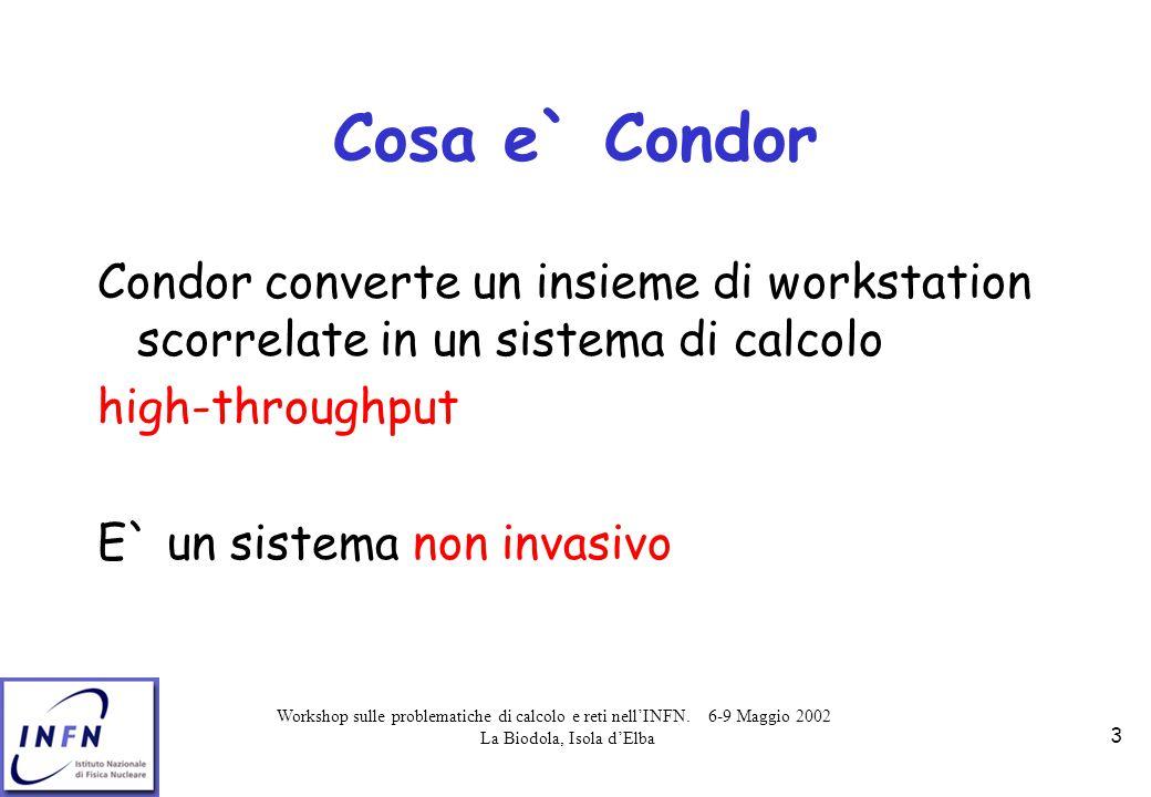 Workshop sulle problematiche di calcolo e reti nell'INFN. 6-9 Maggio 2002 La Biodola, Isola d'Elba 3 Cosa e` Condor Condor converte un insieme di work