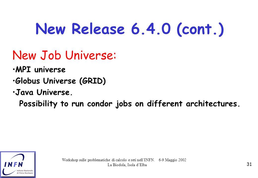 Workshop sulle problematiche di calcolo e reti nell'INFN. 6-9 Maggio 2002 La Biodola, Isola d'Elba 31 New Release 6.4.0 (cont.) New Job Universe: MPI
