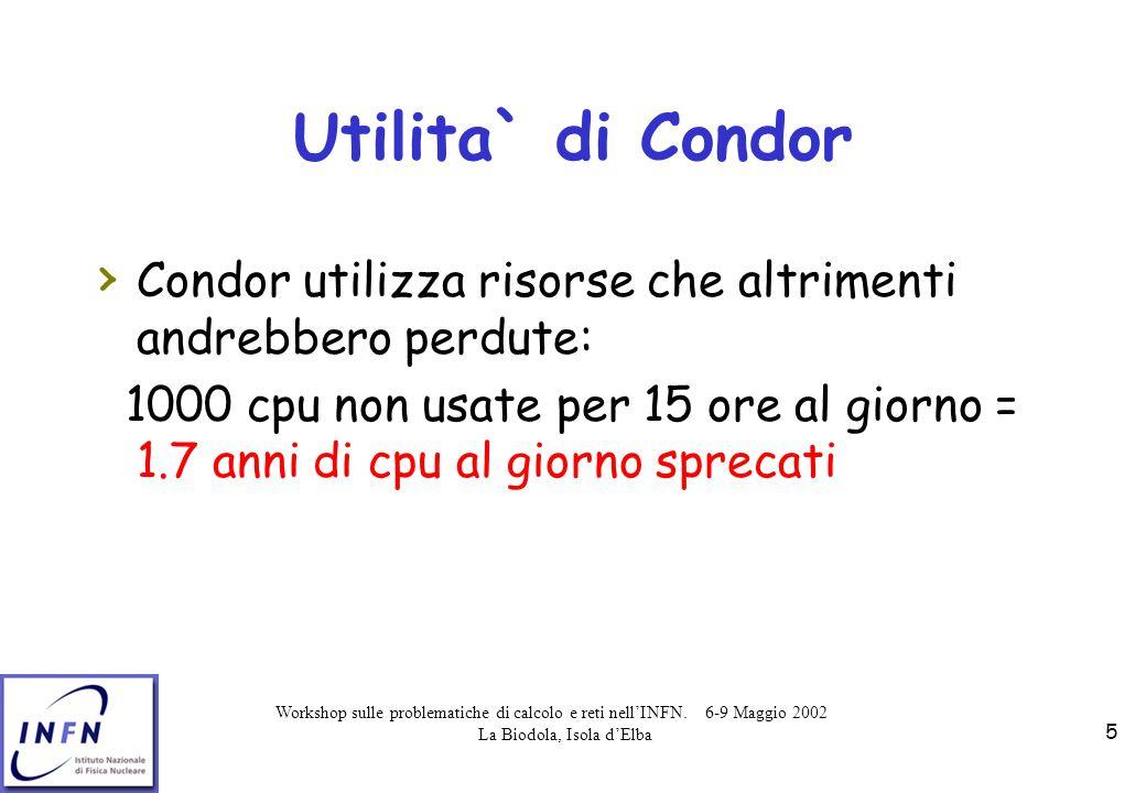 Workshop sulle problematiche di calcolo e reti nell'INFN. 6-9 Maggio 2002 La Biodola, Isola d'Elba 5 Utilita` di Condor › Condor utilizza risorse che