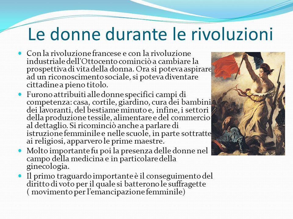 Le donne durante le rivoluzioni Con la rivoluzione francese e con la rivoluzione industriale dell'Ottocento cominciò a cambiare la prospettiva di vita