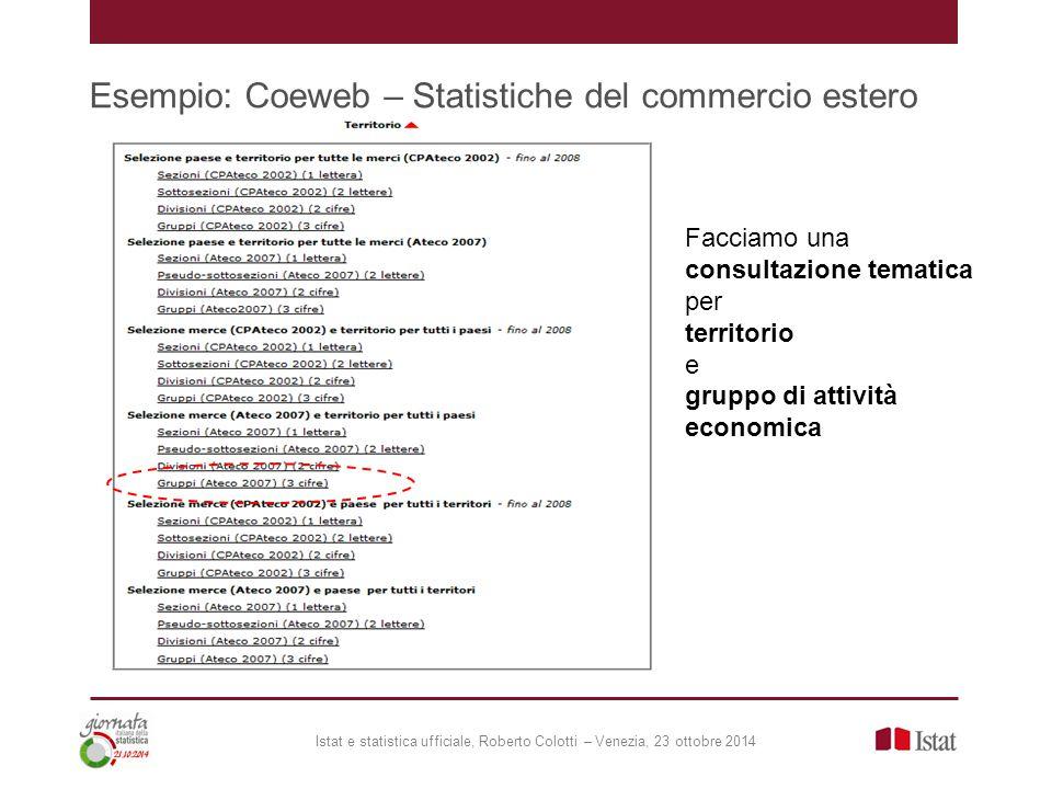 Esempio: Coeweb – Statistiche del commercio estero Facciamo una consultazione tematica per territorio e gruppo di attività economica Istat e statistica ufficiale, Roberto Colotti – Venezia, 23 ottobre 2014