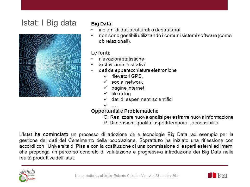 Istat: I Big data L'Istat ha cominciato un processo di adozione delle tecnologie Big Data, ad esempio per la gestione dei dati del Censimento della popolazione.