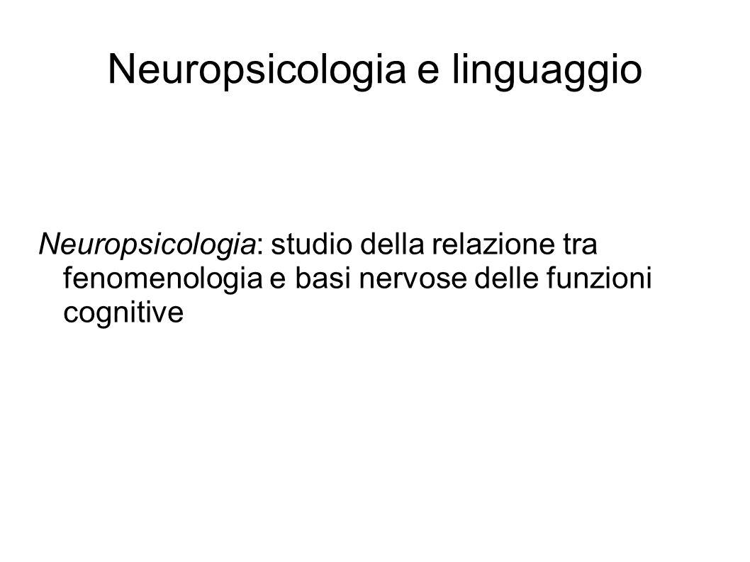 Neuropsicologia e linguaggio Neuropsicologia: studio della relazione tra fenomenologia e basi nervose delle funzioni cognitive