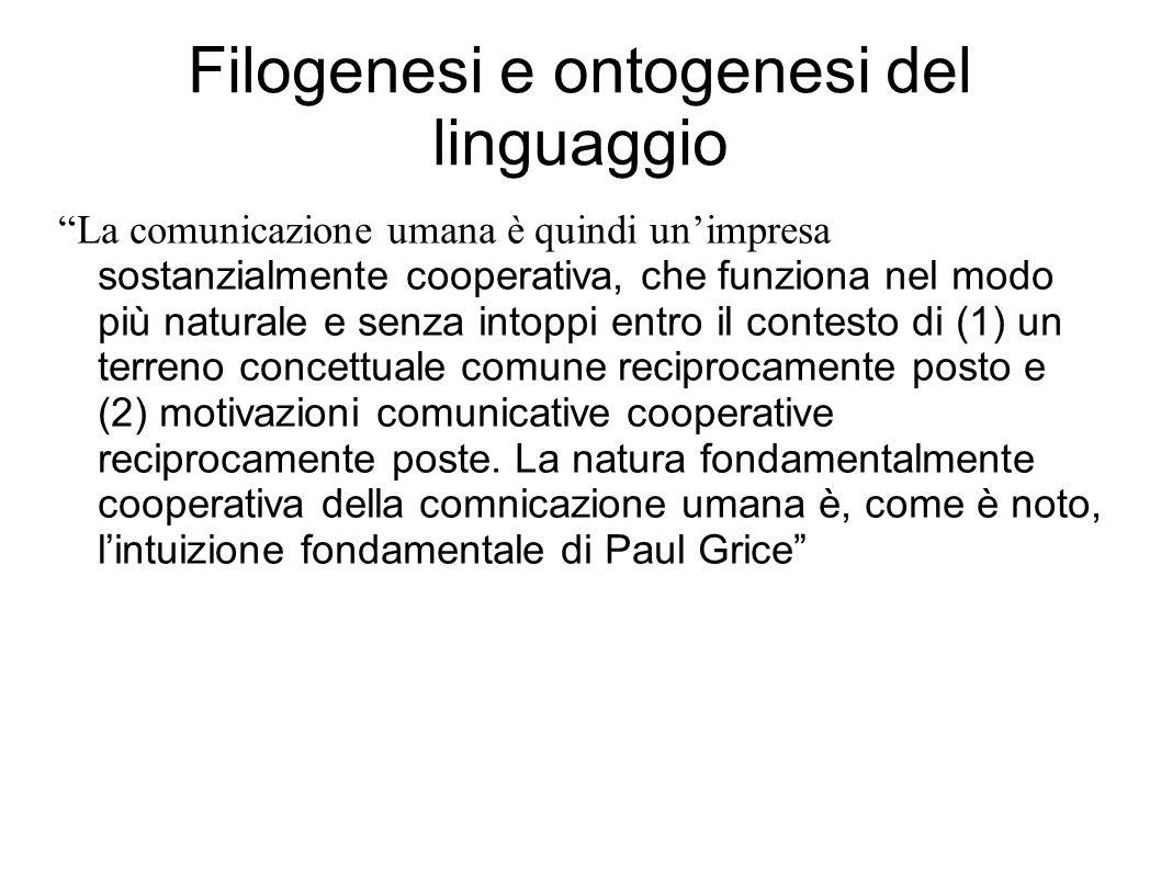 """Filogenesi e ontogenesi del linguaggio """"La comunicazione umana è quindi un'impresa sostanzialmente cooperativa, che funziona nel modo più naturale e s"""