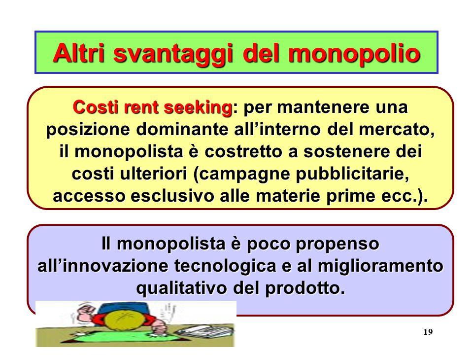 19 Altri svantaggi del monopolio Il monopolista è poco propenso all'innovazione tecnologica e al miglioramento qualitativo del prodotto.