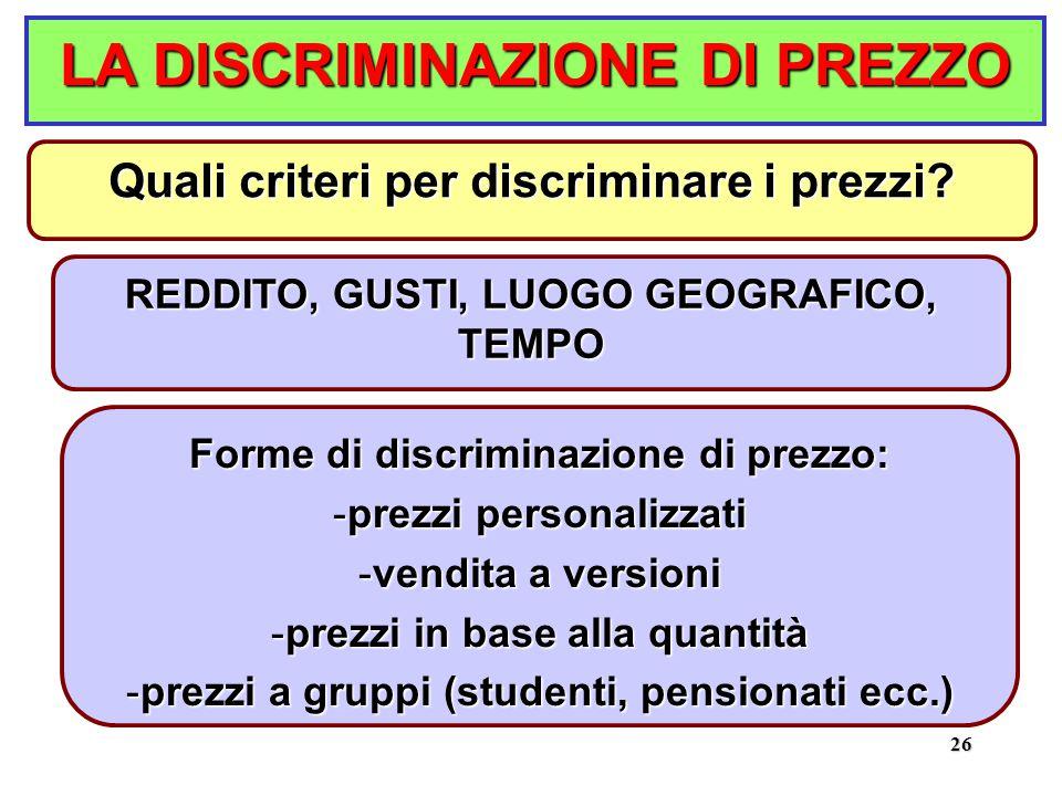 26 LA DISCRIMINAZIONE DI PREZZO REDDITO, GUSTI, LUOGO GEOGRAFICO, TEMPO Quali criteri per discriminare i prezzi.