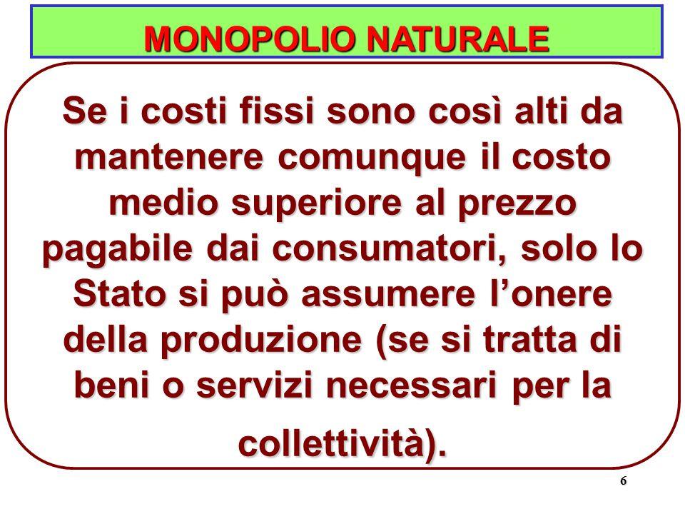 6 MONOPOLIO NATURALE Se i costi fissi sono così alti da mantenere comunque il costo medio superiore al prezzo pagabile dai consumatori, solo lo Stato si può assumere l'onere della produzione (se si tratta di beni o servizi necessari per la collettività).