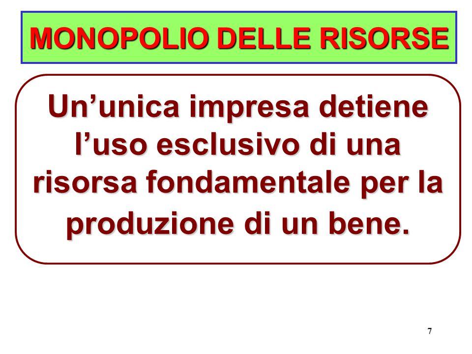 7 MONOPOLIO DELLE RISORSE Un'unica impresa detiene l'uso esclusivo di una risorsa fondamentale per la produzione di un bene.