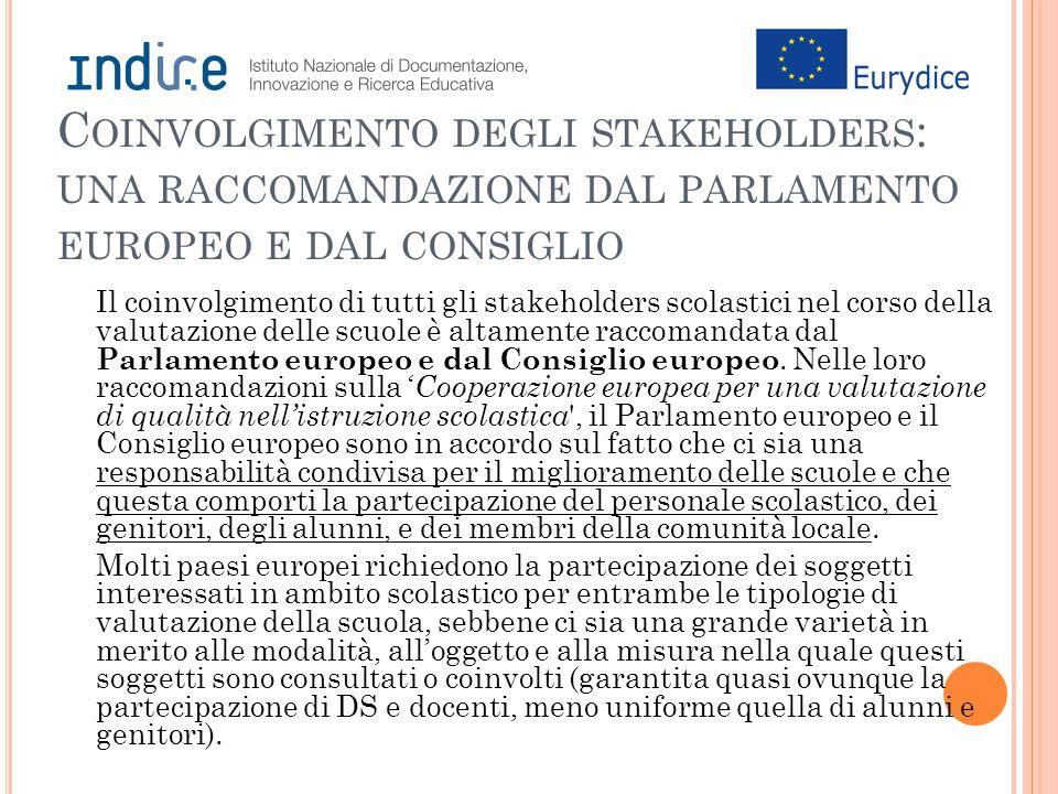 C OINVOLGIMENTO DEGLI STAKEHOLDERS : UNA RACCOMANDAZIONE DAL PARLAMENTO EUROPEO E DAL CONSIGLIO Il coinvolgimento di tutti gli stakeholders scolastici