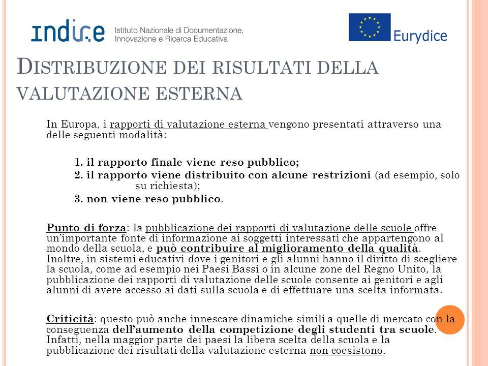 D ISTRIBUZIONE DEI RISULTATI DELLA VALUTAZIONE ESTERNA In Europa, i rapporti di valutazione esterna vengono presentati attraverso una delle seguenti modalità: 1.