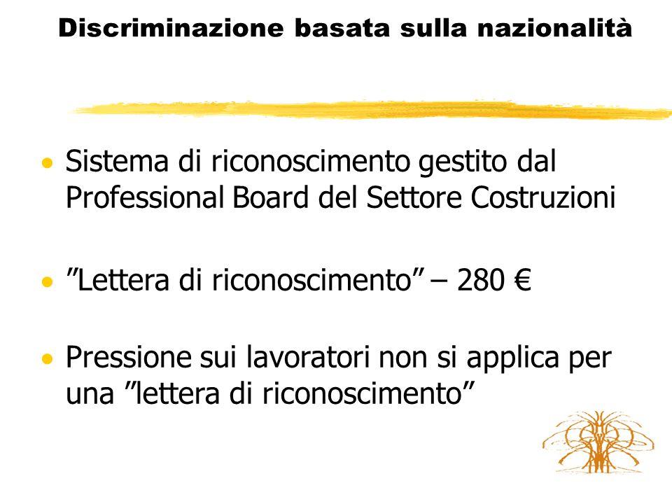 Discriminazione basata sulla nazionalità La Discriminazione basata sulla nazionalità è vietata dal diritto dell'Unione  Art.
